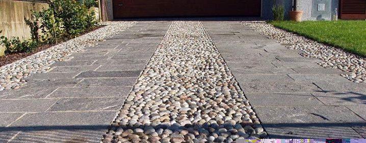 pavimenti esterni decorati con ciottoli da fiume